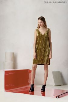 French Connection Green Teresa Velvet Dress