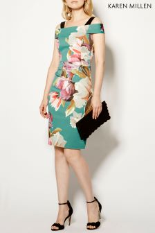 Karen Millen Green Painterly Floral Print On Signature Dress