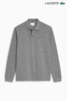 Lacoste® Grey Marl Long Sleeve Polo