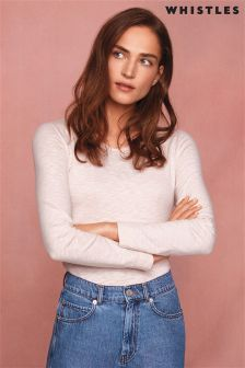 Whistles Pink Double Trim Long Sleeved T-Shirt