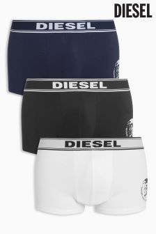 Diesel® Navy/White/Black Logo Trunks 3 Pack