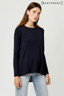 Warehouse Navy Pleat Back Top