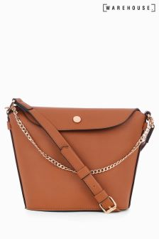Warehouse Tan Popper And Chain Bucket Bag