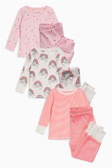 Rainbow And Star Snuggle Pyjamas Three Pack (9mths-8yrs)