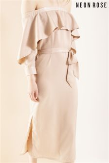 Neon Rose Taupe Satin Frill Back To Front Shirt Dress