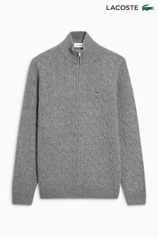 Lacoste Grey Cable Knit Zip Neck Jumper