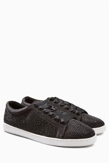 Satin Shimmer Lace-Up Trainers