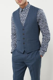 Textured Slim Fit Suit: Waistcoat