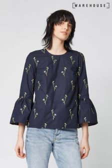 Warehouse Navy Embroidered Iris Cotton Top