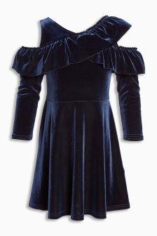 Ruffle Velvet Dress (3-16yrs)