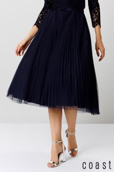 Coast Navy Natalia Pleated Tulle Skirt