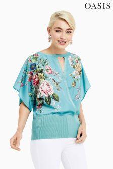 Oasis Green Royal Worcester Kimono Top