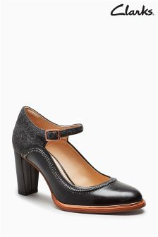 Clarks Black Leather Ellis Mae Stitch Mary Jane Shoe