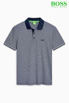Boss Green Navy Stripe Paddos Poloshirt