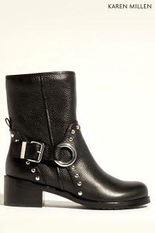 Karen Millen Black Biker Boot