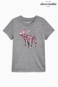 Abercrombie & Fitch Grey Sequin Moose Logo Top