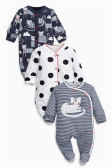 Cat Print Sleepsuits Three Pack (0mths-2yrs)