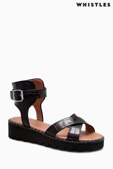 Whistles Black Kingly Studded Croc Sandal