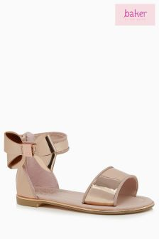Baker Kids Younger Girls Rose Gold Bow Detail Sandal