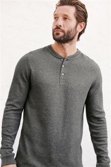 Long Sleeve Textured Grandad