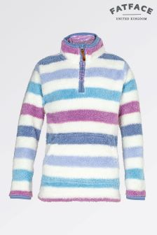 Fat Face Ecru Stripe Half Neck Fleece