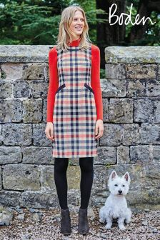 Boden Pale Pink Check Deborah Tweed Dress