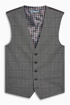 Textured Check Slim Fit Suit: Waistcoat