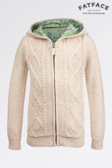 Fat Face Oatmeal Lily Cable Cardigan