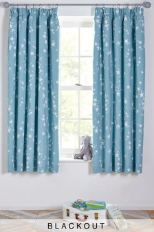 Great Sleepy Stars Blackout Pencil Pleat Curtains