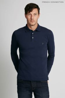 French Connection Blue Long Sleeve Polo