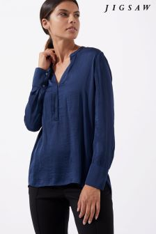 Jigsaw Blue Crocus Drape Shirt