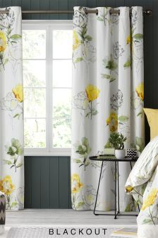 Yellow Floral Blackout Lined Eyelet Curtains