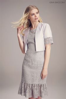 Gina Bacconi Grey Crepe Chine And Antique Foil Jacket