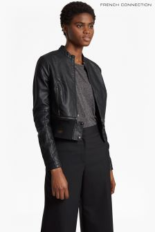 French Connection Black Sandra PU High Collar Biker Jacket