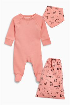 Crew Sleepsuit, Dribble Bib And Bag (0mths-2yrs)