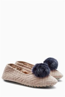 Velour Pom Ballerina Slippers