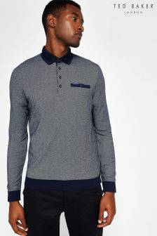 Ted Baker Navy Setta Long Sleeve Polo