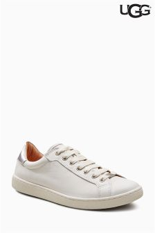 UGG® White Leather Milo Lace Up Sneaker