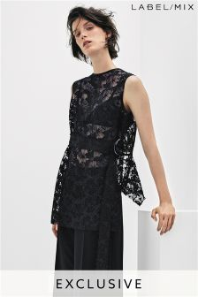Mix/Whole 9 Yards Raw Edge Sheer Lace Belted Top
