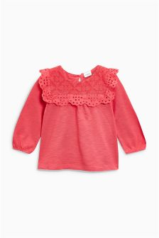 Long Sleeve Broderie Blouse (3mths-6yrs)