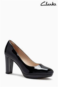Clarks Wide Fit Black Patent Kendra Sienna Court Shoe