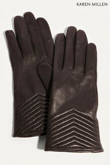 Karen Millen Black Chevron Quilted Collection Gloves