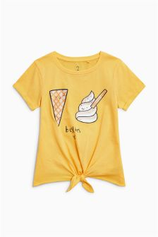 Graphic Short Sleeved Tie Front T-Shirt (3-16yrs)