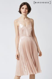 Warehouse Pink Lame Pleated Dress
