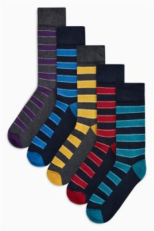 Stripe Cushioned Sole Socks Five Pack