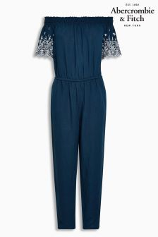 Abercrombie & Fitch Navy Cold Shoulder Jumpsuit