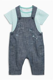 Embroidered Chambray Dungarees And Bodysuit Set (0mths-2yrs)