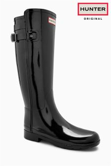 Hunter Black Gloss Refined Back Strap Original Tall Welly