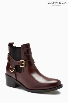 Carvela Wine Saddle Rider Ankle Boot