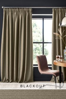 Textured Slub Studio* Pencil Pleat Blackout Curtains